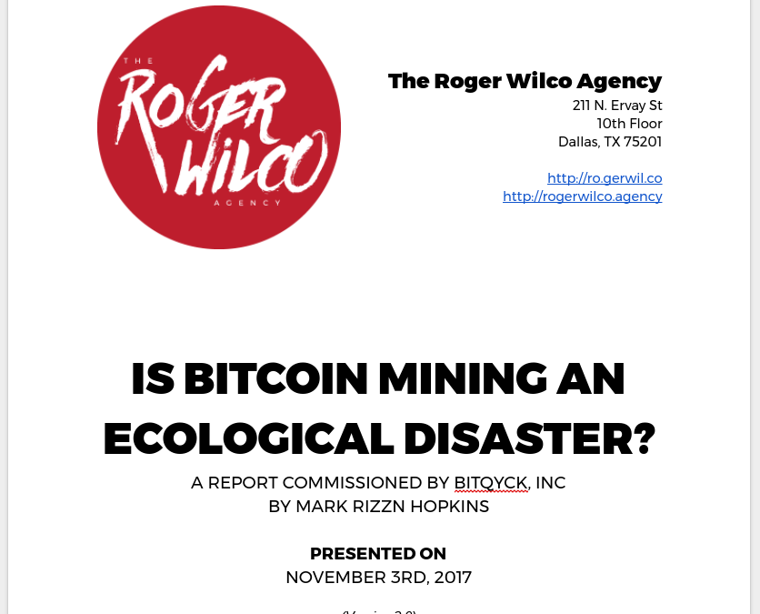 Rapid Report on the Bitcoin Blockchain's Environmental Impact